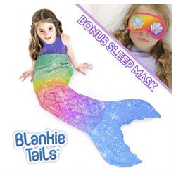 BLANKIE TAIL KIDS GLITTER BOMB MERMAID BLANKET W/ SLEEP MASK - RAINBOW